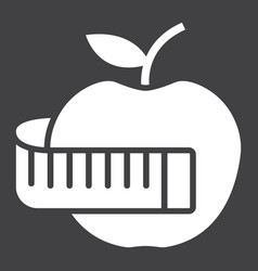 apple with measuring tape glyph icon vector image