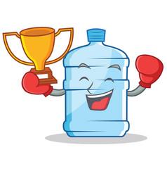 Boxing winner gallon character cartoon style vector