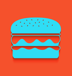 Burger simple sign whitish icon on brick vector