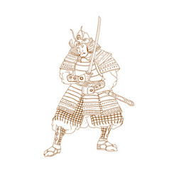bushi samurai warrior drawing vector image