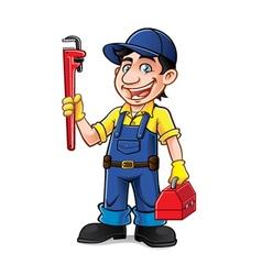 Cartoon Plumber Standing vector image vector image