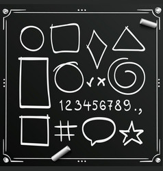 chalkboard sketch symbols sign figure icons vector image vector image