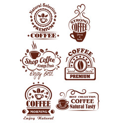 coffee cup brown icon for cafe label design vector image