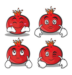 Collection of pomegranate cartoon character style vector