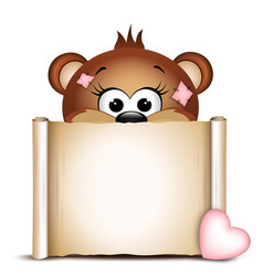 Cute bear with paper scroll on a white background vector image vector image