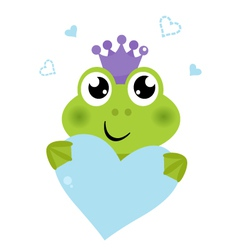 Cute frog holding Heart isolated on white vector image vector image