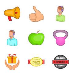 Distributor icons set cartoon style vector