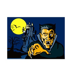 Dracula with castle vector