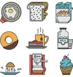 Flat color icons for breakfast menu vector image