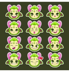 Funny cartoon green monster emotions vector image vector image