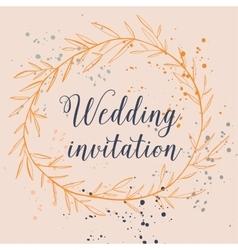 Hand drawn splash design wedding invitation with vector
