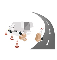 Hand Truck Loading Shipping Box into A Van vector image