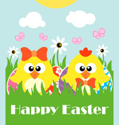 Happy easter background card with two funny vector