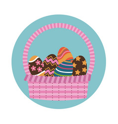 Happy easter basket egg decoration icon vector