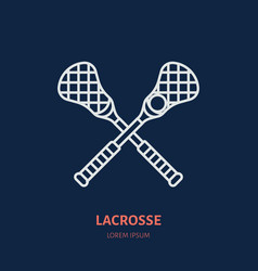 Lacrosse line icon ball and sticks logo vector