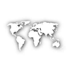 Map of the world with shadow vector