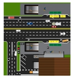 Plot road highway street with the store vector