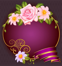 Postcard background round frame with roses and vector