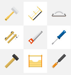 set of 9 editable instrument flat icons includes vector image