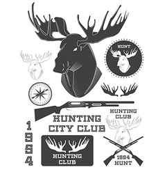 Set of vintage outdoors with a deer labels badges vector image