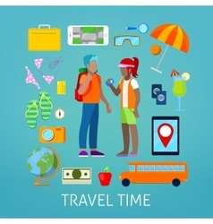 Tourism and travel icons set with tourist couple vector