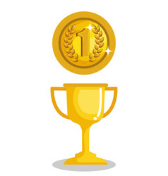 Trophy cup with coin award icon vector