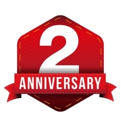 Two years anniversary badge with red ribbon vector