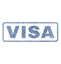 visa textile stamp vector image vector image