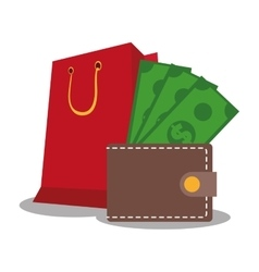 Wallet shopping and ecommerce design vector