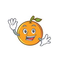 Waving orange fruit cartoon character vector