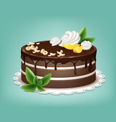 whole chocolate cake vector image