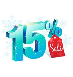 Winter Sale 15 Percent Off vector image vector image
