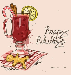Winter with mulled wine cocktail vector