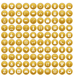 100 woman happy icons set gold vector