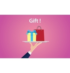 Gift concept with people hand holding a plate with vector