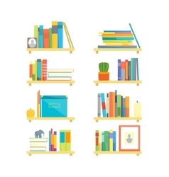 Shelves with books and different things set vector
