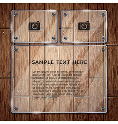 Glass frame and wooden vector