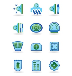 Urban public buildings icons set vector