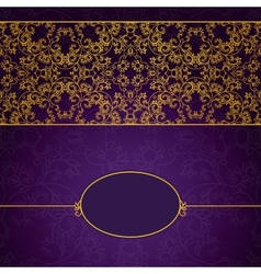Abstract gold and violet invitation frame vector image