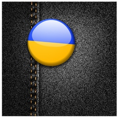 Ukraine flag on black denim vector