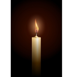 Burning candle on black background vector image