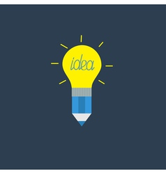 Pencil with yellow shining light bulb lamp Idea vector image