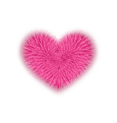 fur pink heart for Valentines Day isolated on vector image