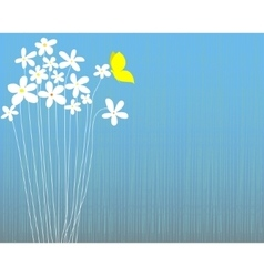 White flowers and butterfly vector