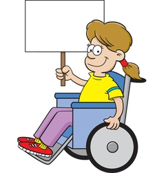 Cartoon girl in a wheel chair holding a sign vector