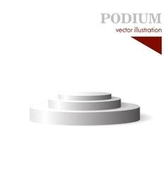 Three step white round podium vector image