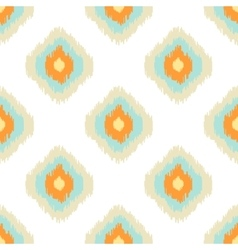 Ikat geometric seamless pattern orange and blue vector