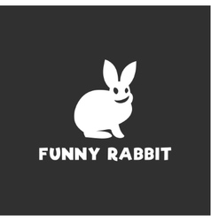 Smiling funny rabbit silhouette logo design single vector