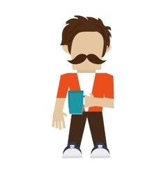 Hipster man with mustache vector