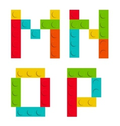 Alphabet set made of toy construction brick vector image vector image